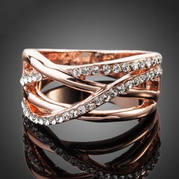 Classic Rose Gold-Plated Transparent Ring