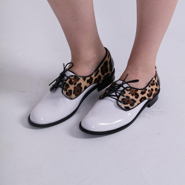 Leopard print oxfords for women