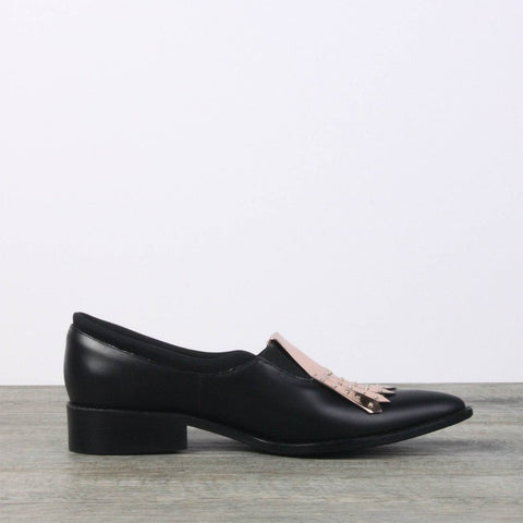 Black leather oxford shoes - for women