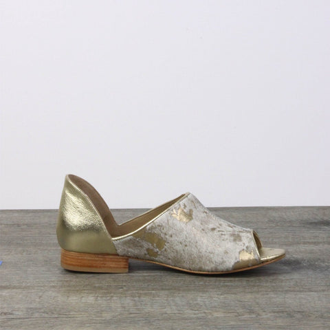 Gold leather flats
