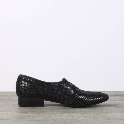 Black leather flats - snake print