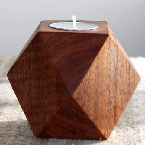 Geometric Wooden small Candle - Tzalam Wood From Mexico