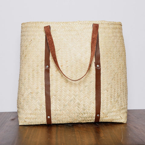 Handwoven Wickerwork Beach Bag - Made in Mexico