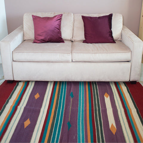 Striped area rug - Handmade in Mexico