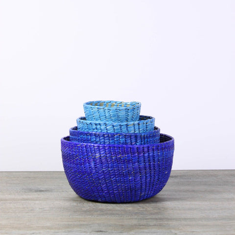 Colored wicker baskets