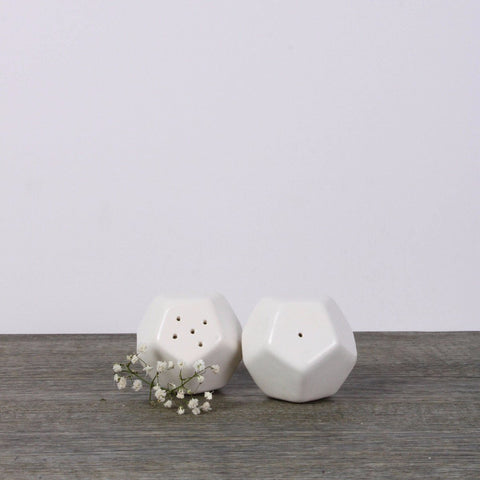 Geometric salt and pepper shakers