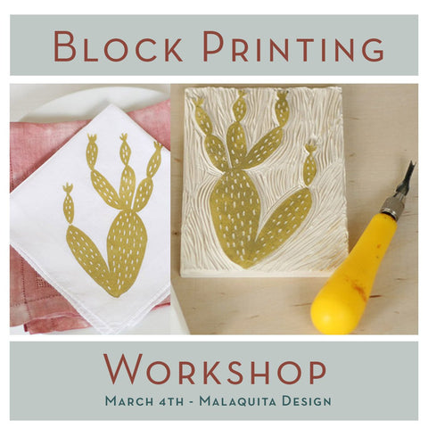 DIY block printing workshop on fabric