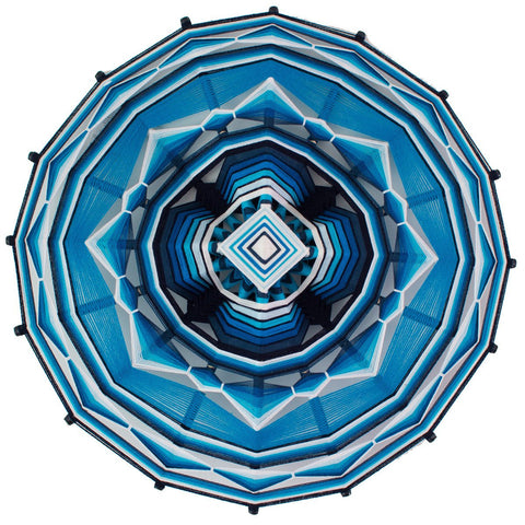 String Art Eye of God - Waved mandalas blue