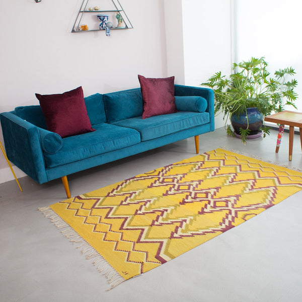 Mustard Yellow Carpet - Made in Oaxaca Mexico