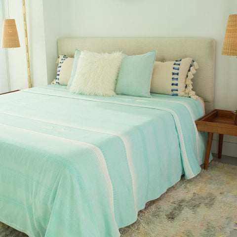 hand woven bed cover light blue