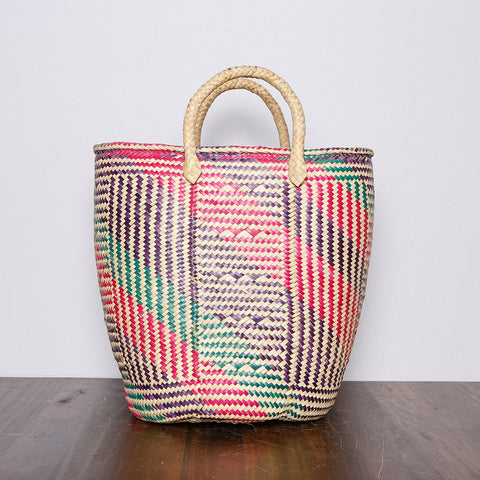 Colorful palm woven basket - Made in Mexico