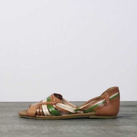 Summer Sale - Women Leather Sandals - Mexico Green