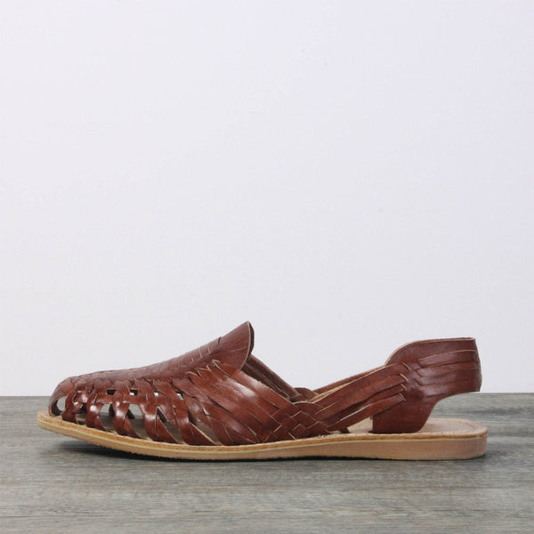 Men Leather Sandals - Mexico Brown closed