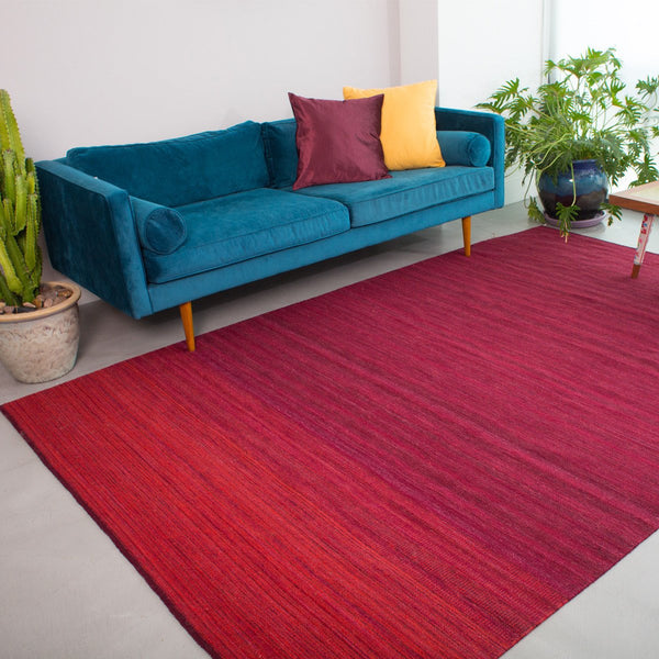 Red wool rug - cochineal Oaxaca