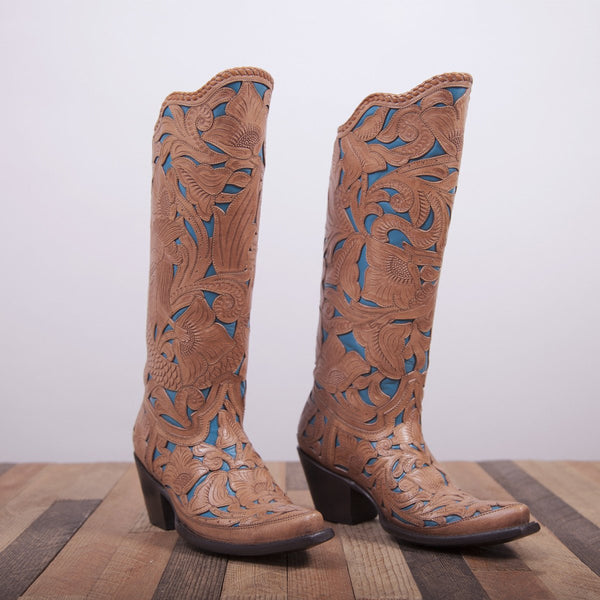 brown and blue cowboy boots