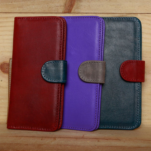 Bicolor Genuine Leather Long  Wallet
