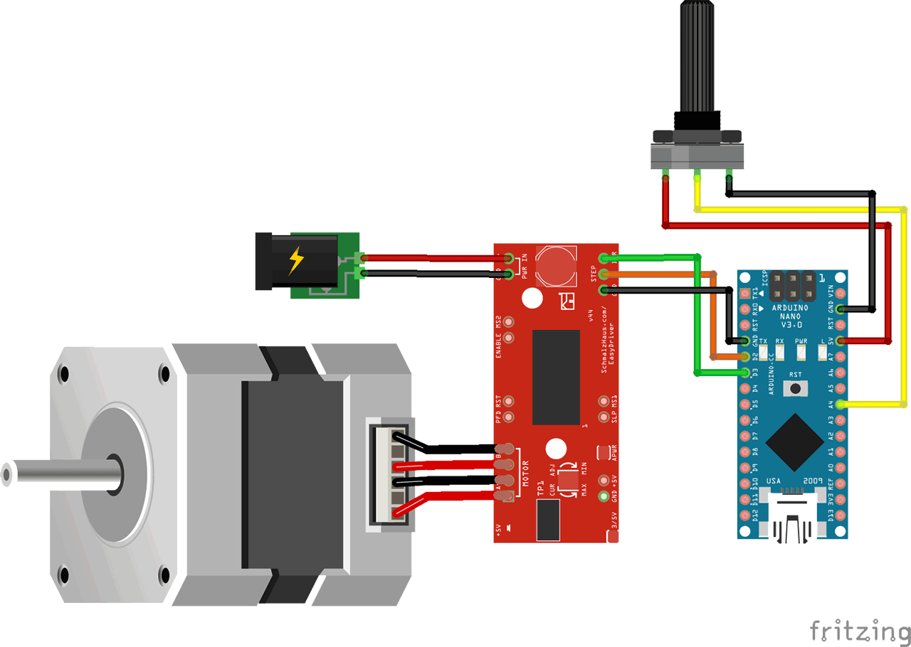 Control a Stepper motor with a Potentiometer and an Arduino