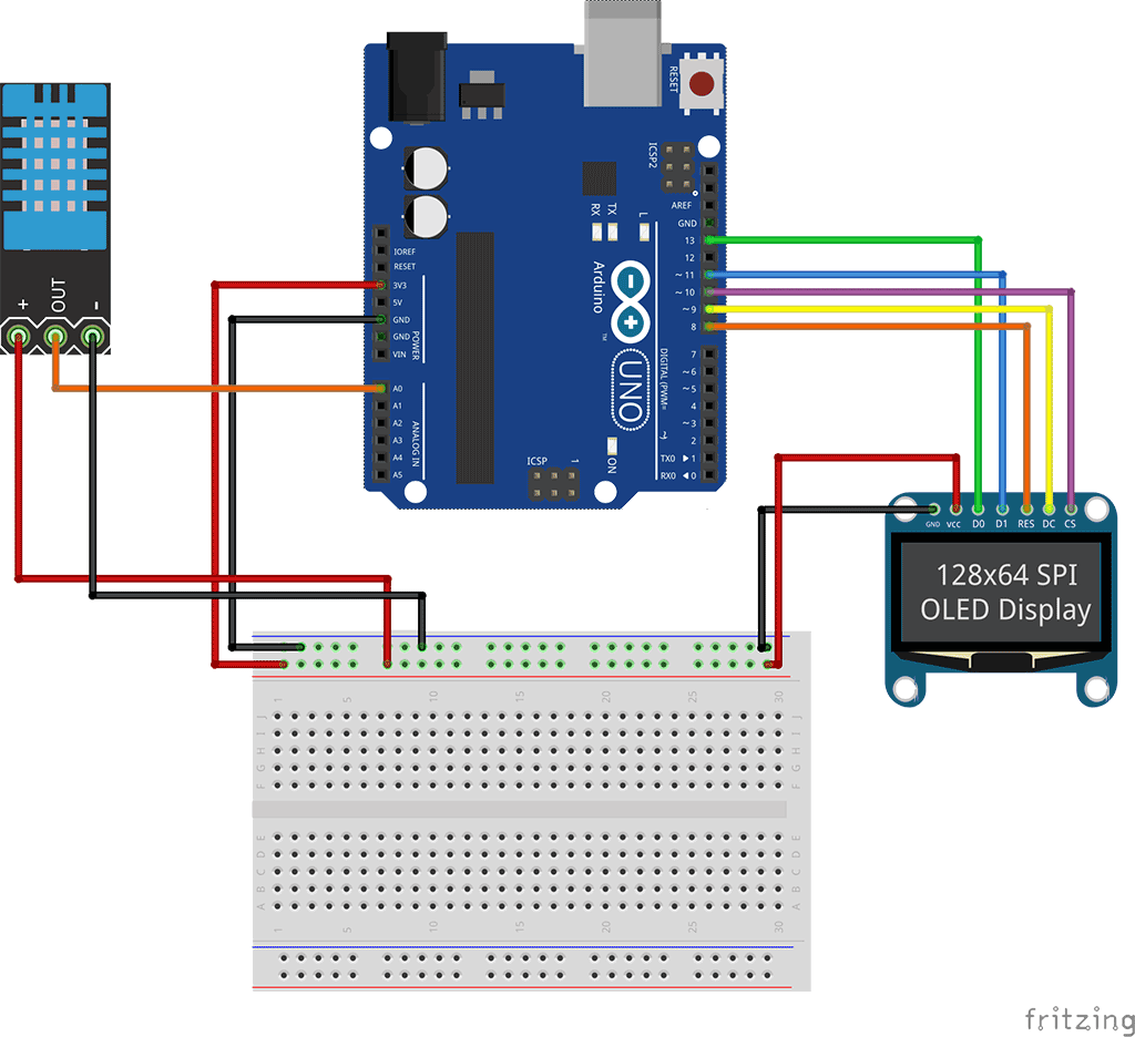 Connect OLED to Arduino Schematic