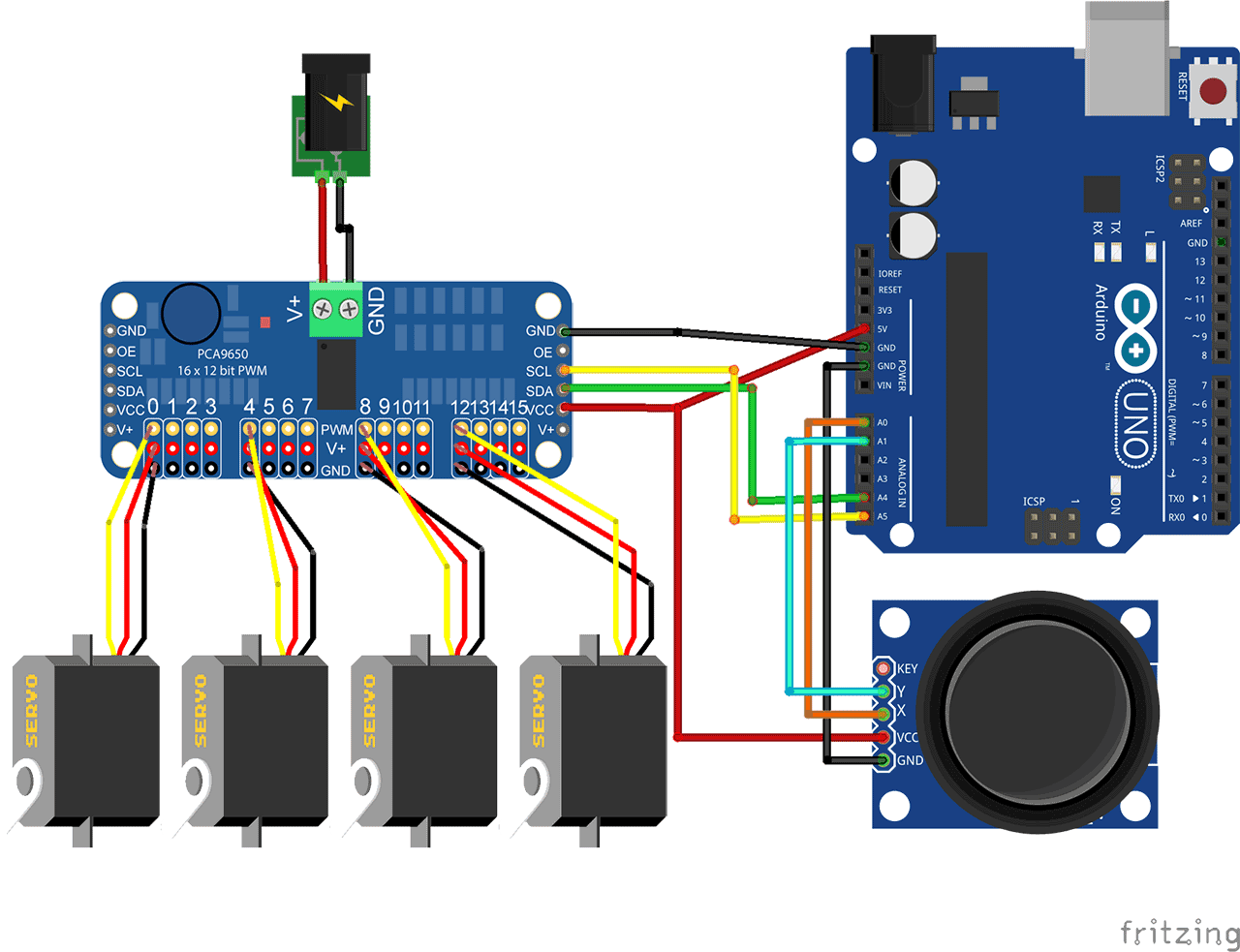 PCA9685 PWM Module controlling a lot of servo with Arduino