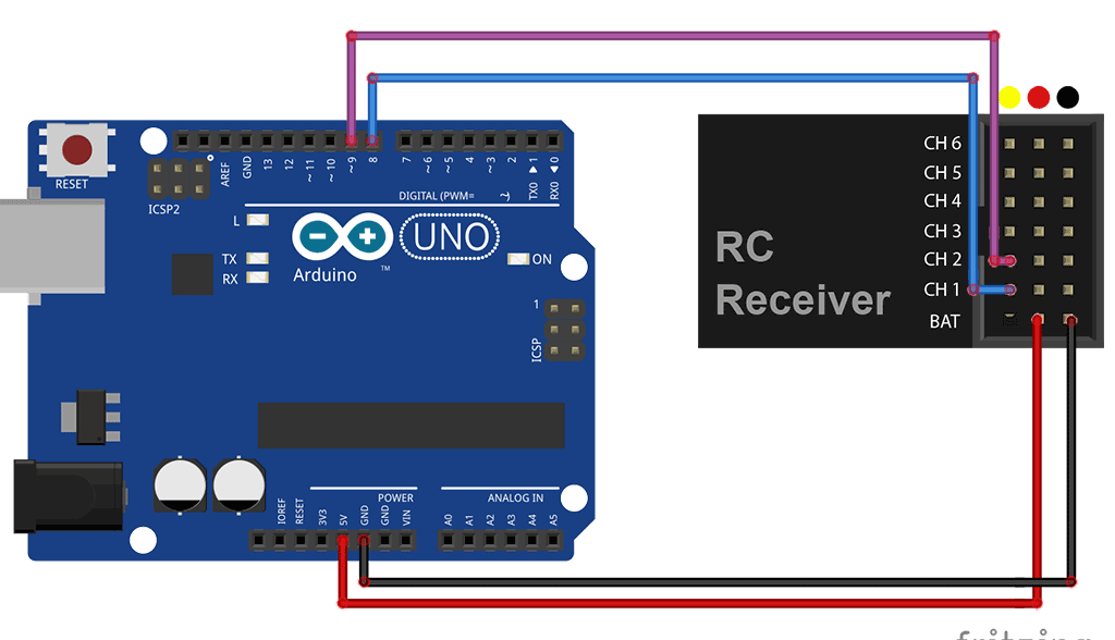 Use RC transmitter with an Arduino
