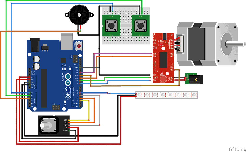 Set in and out stepper travel point using tact switches for Nema 17 stepper motors with rotary encoders