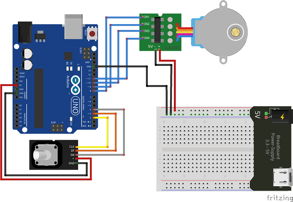 control a stepper motor using arduino and rotary encoder