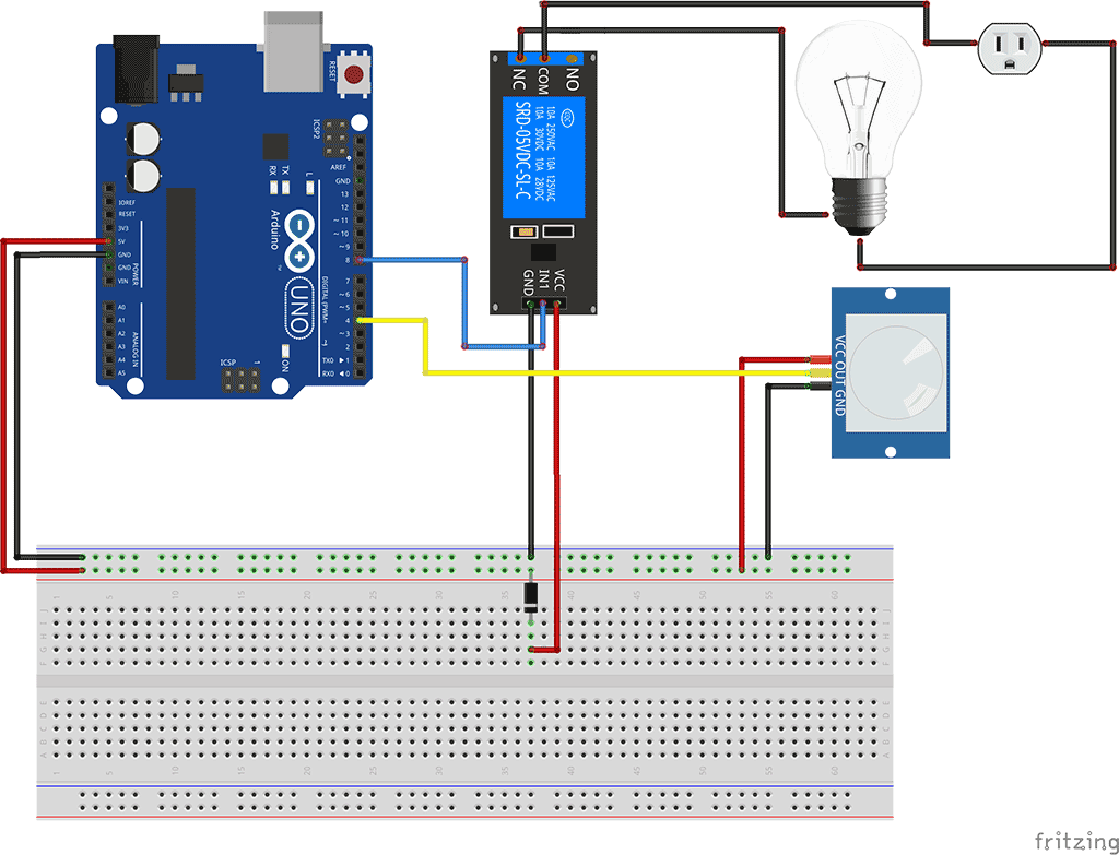 This post shows how to use a relay module with your Arduino. It starts by demonstrating how to connect the relay to mains voltage and to the arduino. Then, you'll have an example on how to control a lamp with a relay module and a PIR motion sensor.