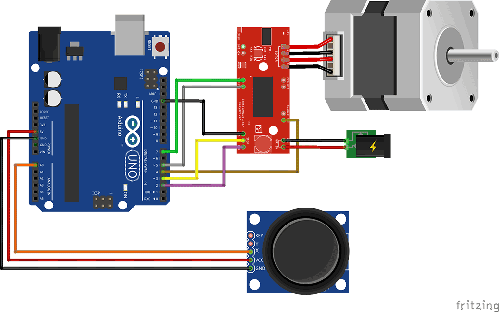 control a stepper motor using a joystick and arduino