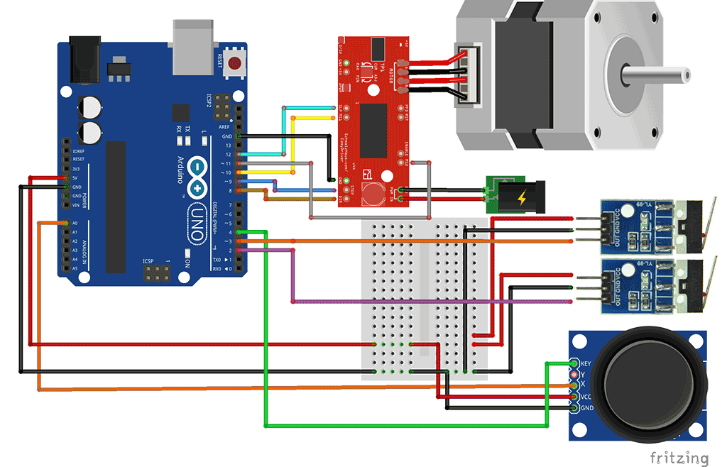 Arduino NEMA Stepper control with Joystick and Limit Switches