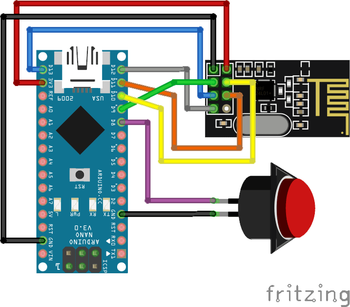 NRF24L01 2.4GHz wireless module with an Arduino