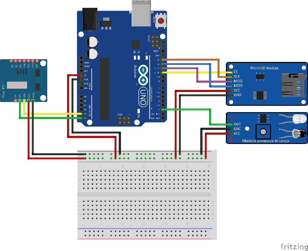Arduino Micro SD and Obstacle avoid sensor module