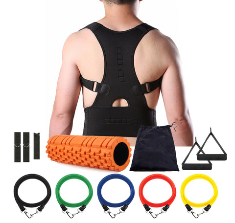 Adjustable Magnetic Posture Corrector Bundle with foam roller and resistance band - The Natural Posture