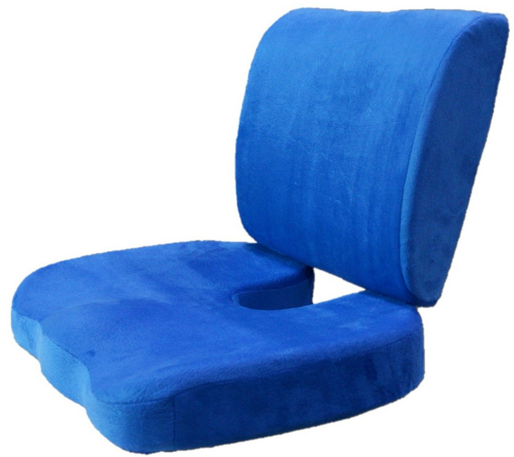 Orthopedic Comfort Memory Foam Coccyx Seat Pad and Back Support Set - The Natural Posture