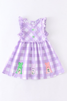 IN STOCK! Purple Plaid Bunny Applique Woven Dress