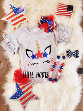 sale! IN STOCK! Red White Blue Unicorn Flutter Tee
