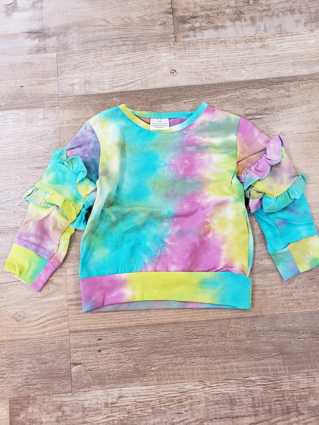 IN STOCK! Tiedye Ruffle Sleeve Top