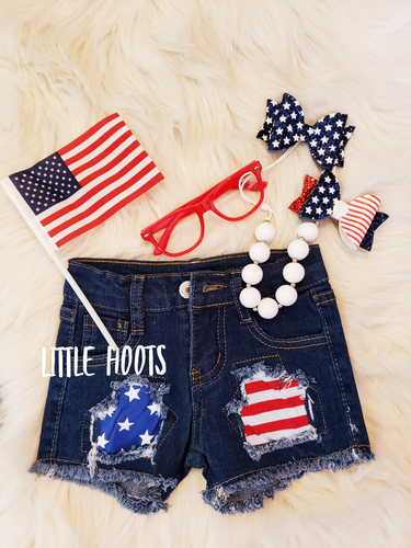 sale! IN STOCK! Stars and Stripes Distressed Shorts