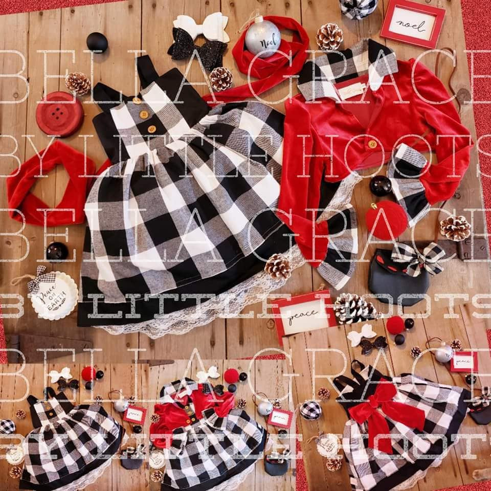 SALE! IN STOCK! Bella Grace Holiday Plaid Dress and Jacket Set