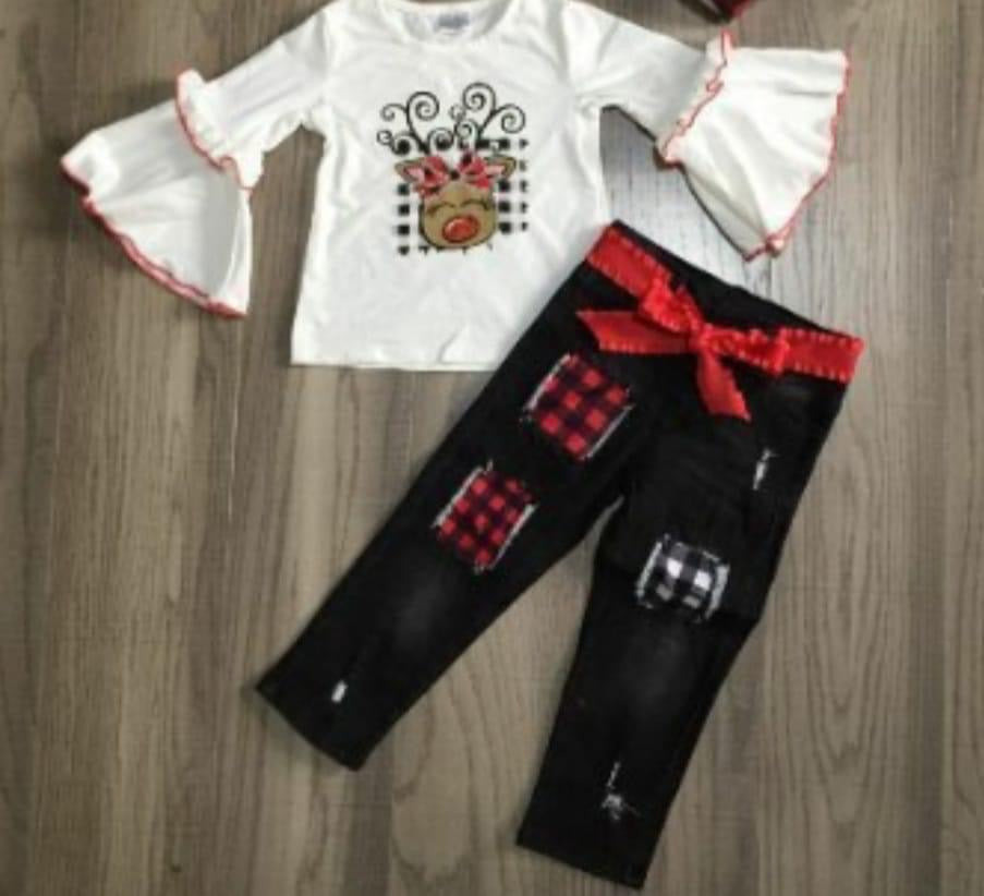 Preorder! Reindeer Distressed Black Denim Set with Ribbon Belt