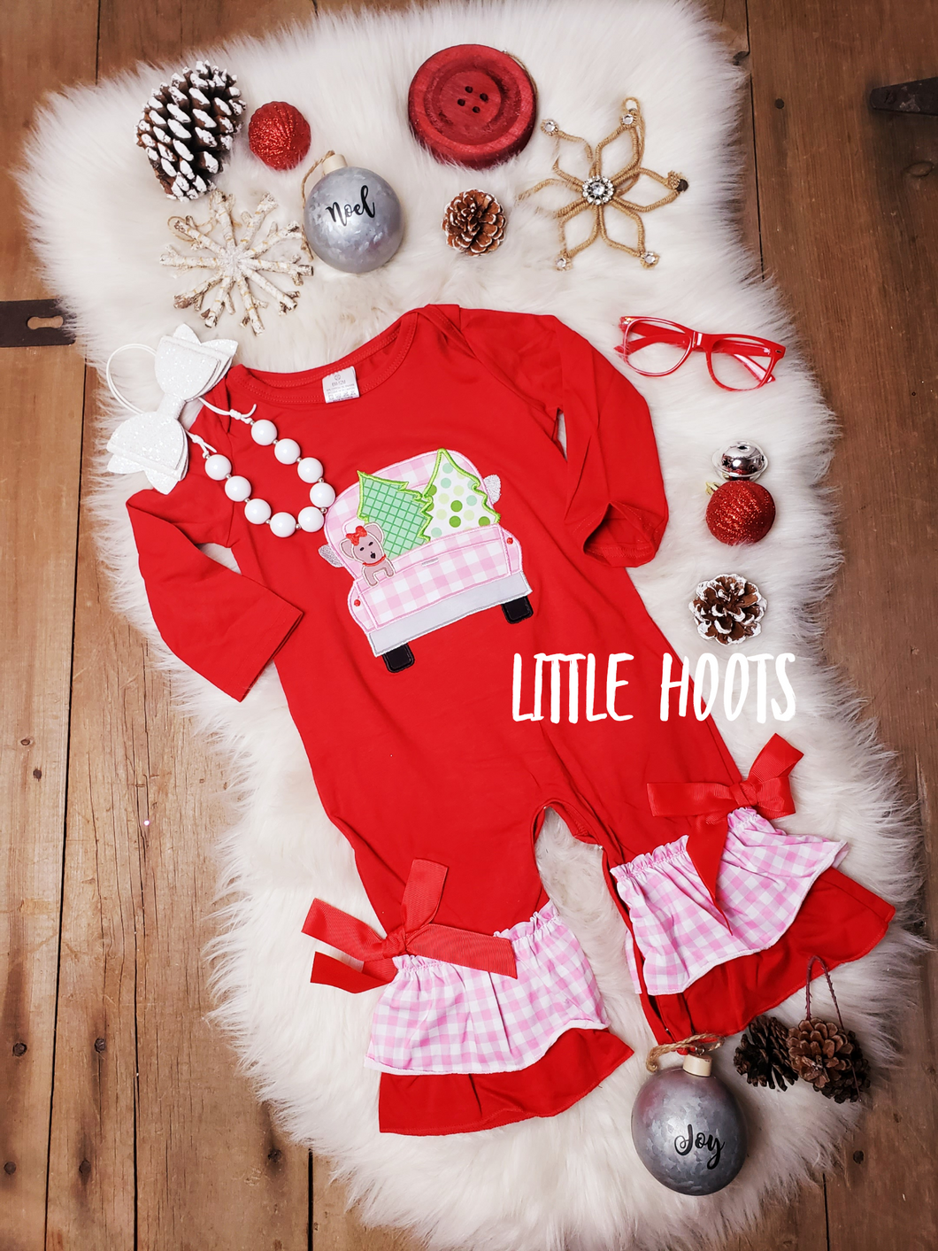 IN STOCK! Christmas Puppy Truck Romper