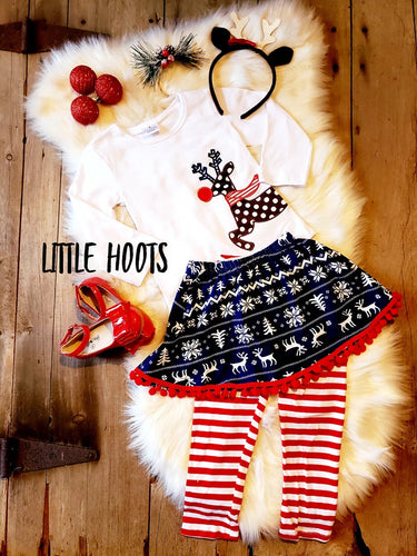 IN STOCK! Red Nosed Reindeer 3 Piece Skirt Set