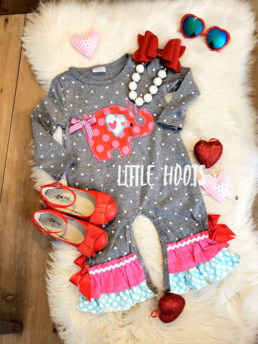 IN STOCK! Valentine Elephant Romper