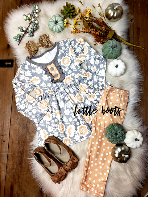 IN STOCK! Gray and Tan Floral Set