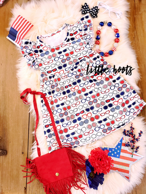 sale! IN STOCK! Patriotic Shades Flutter Dress