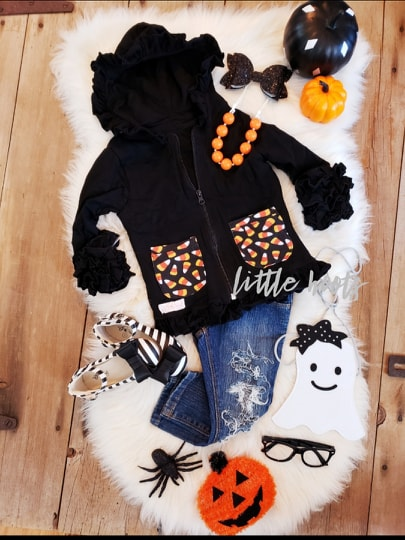 SALE! IN STOCK! Candy Corn Ruffle Hoodie