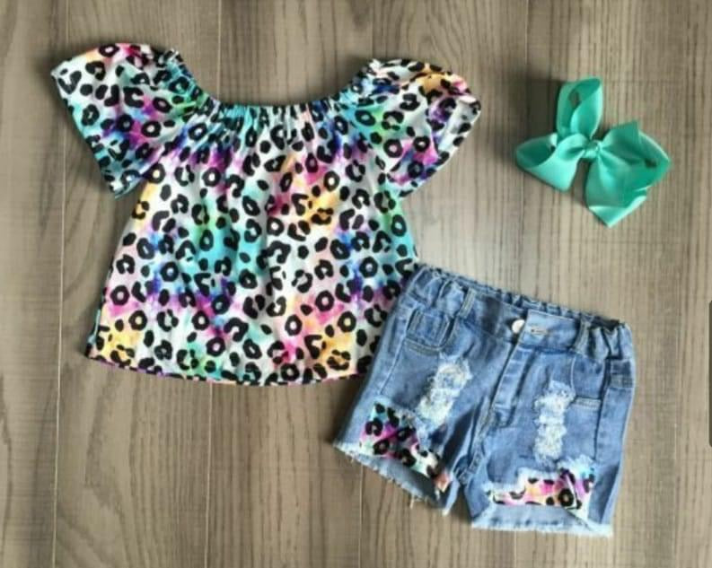 Preorder! Tie Dye Cheetah Denim Set