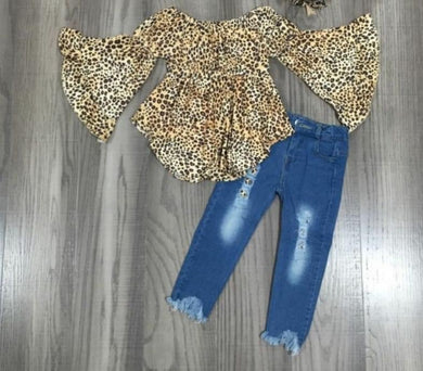 IN STOCK! Leopard Flare Distressed Denim Set
