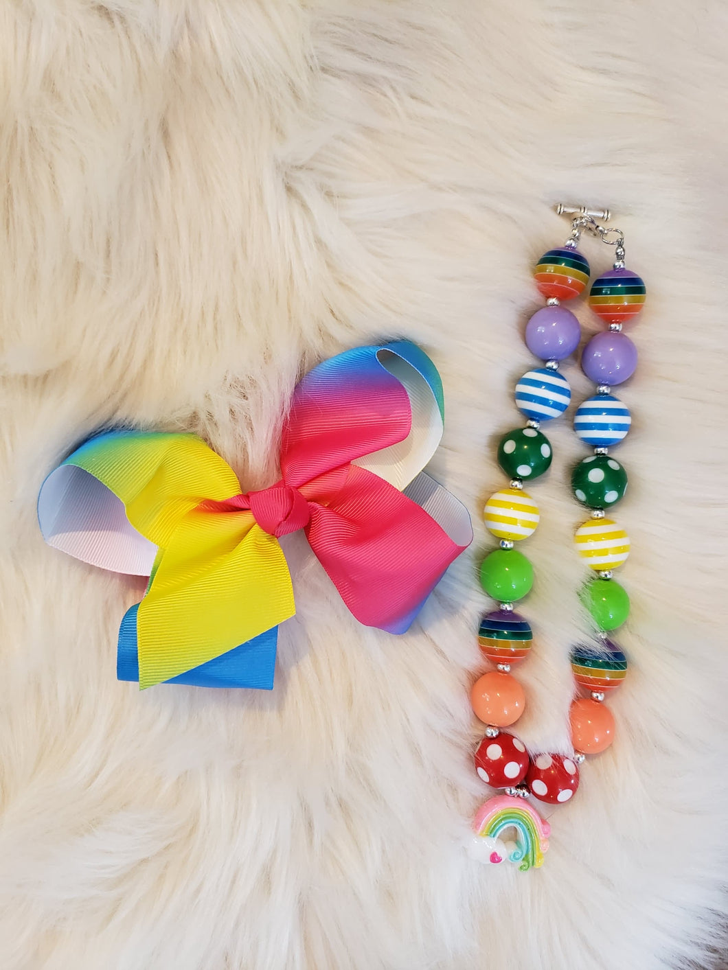 IN STOCK! Tie Dye Bow and Rainbow Necklace Set