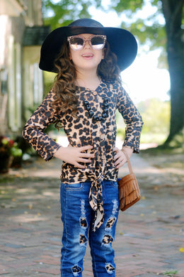 sale! IN STOCK! Cheetah Knot Top
