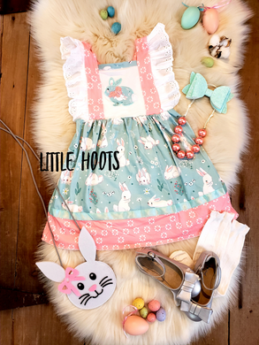 IN STOCK! Mint Bunny Lace Flutter Dress